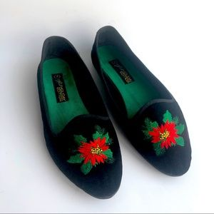 Holiday Edition Black Velvet Red Poinsettia Flats